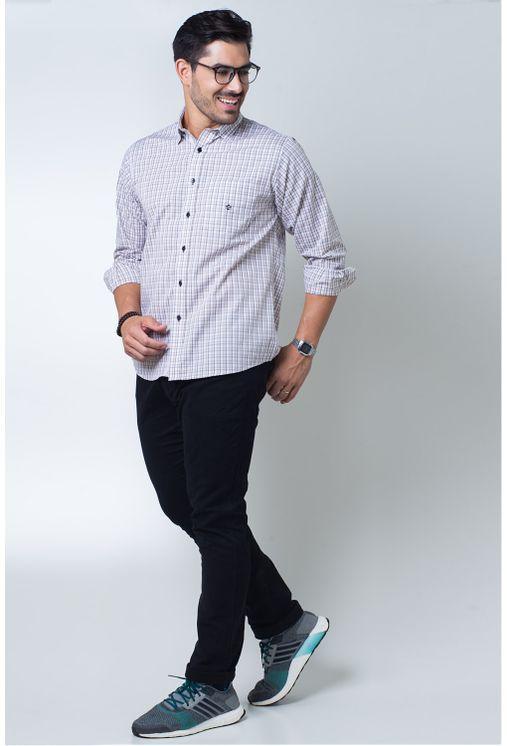 Camisa-casual-masculina-tradicional-algodi¿½o-fio-50-roxo-f01410a-frente