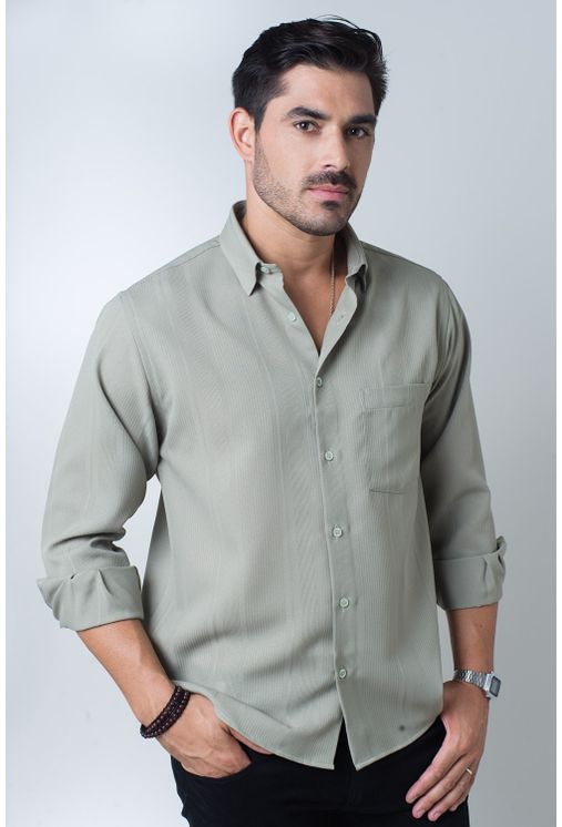 Camisa-casual-masculina-tradicional-microfibra-verde-f06208a-frente