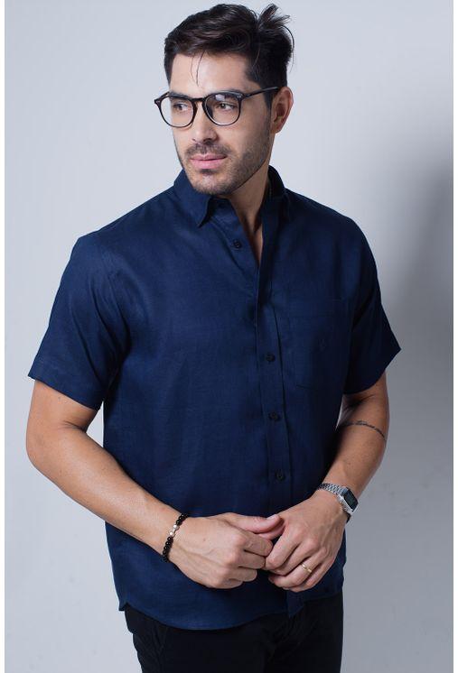 Camisa-casual-masculina-puro-linho-tradicional-azul-escuro-f03943a-frente