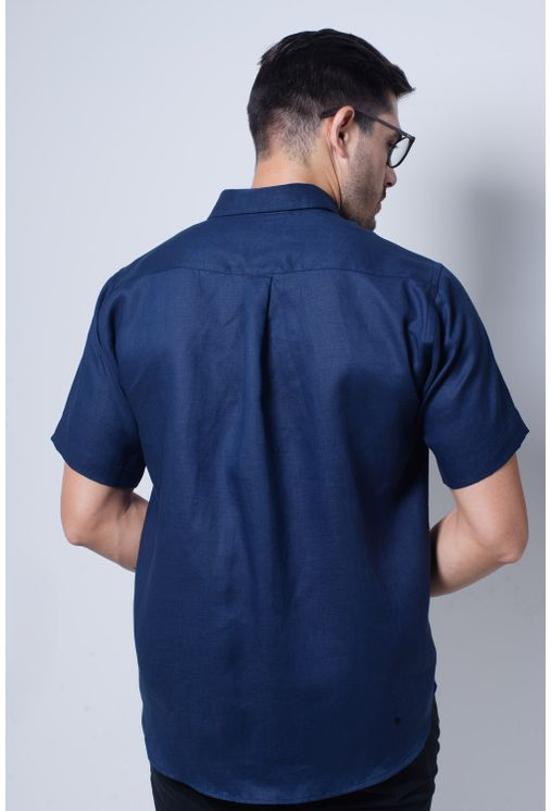 Camisa-casual-masculina-puro-linho-tradicional-azul-escuro-f03943a-verso