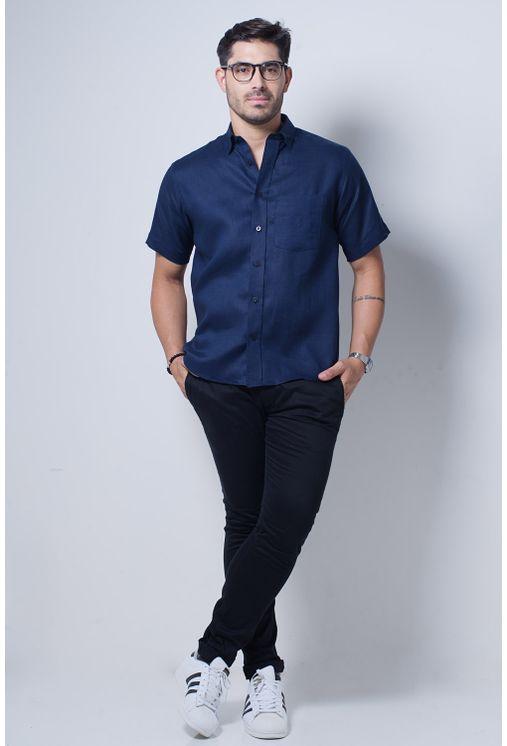 Camisa-casual-masculina-puro-linho-tradicional-azul-escuro-f03943a-detalhe2