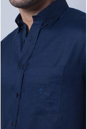 Camisa-casual-masculina-puro-linho-tradicional-azul-escuro-f03943a-detalhe1