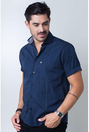 Camisa-casual-masculina-tradicional-algodi¿½o-fio-60-azul-escuro-f01145a-frente