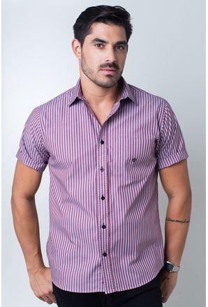 Camisa-casual-masculina-tradicional-algodi¿½o-fio-50-vermelho-f01377a-frente