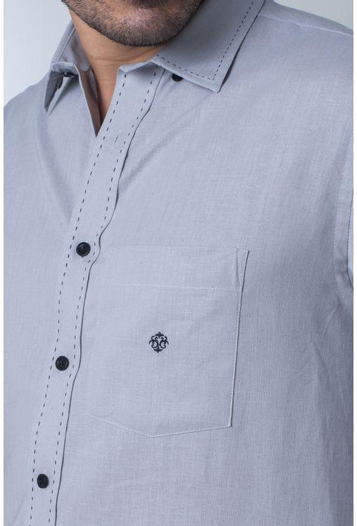 Camisa-casual-masculina-tradicional-linho-misto-cinza-f01295a-frente