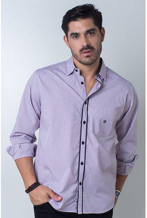 Camisa-casual-masculina-tradicional-algodi¿½o-fio-50-vermelho-f01354a-frente