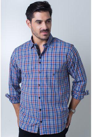 Camisa-casual-masculina-tradicional-algodi¿½o-fio-40-azul-f01465a-frente