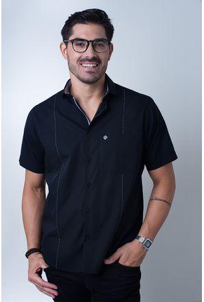 Camisa-casual-masculina-tradicional-algodi¿½o-fio-60-preto-f01145a-frente