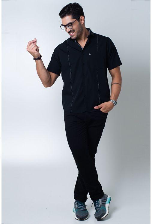 Camisa-casual-masculina-tradicional-algodi¿½o-fio-60-preto-f01145a-detalhe2