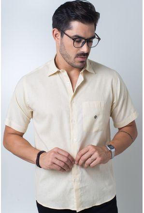 Camisa-casual-masculina-tradicional-linho-misto-amarelo-f01299a-frente