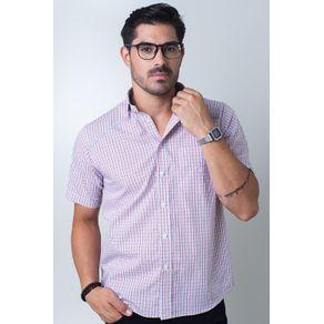 Camisa-casual-masculina-tradicional-algodi¿½o-fio-60-vermelho-f01449a-frente