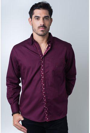 Camisa-casual-masculina-tradicional-algodi¿½o-fio-60-bordo-f01310a-frente