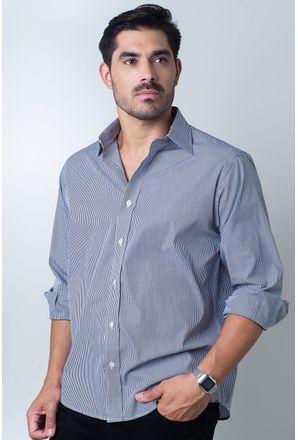 Camisa-casual-masculina-tradicional-algodao-fio-80-preto-f06896a-frente