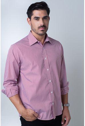 Camisa-casual-masculina-tradicional-algodao-fio-80-vermelho-f06896a-frente