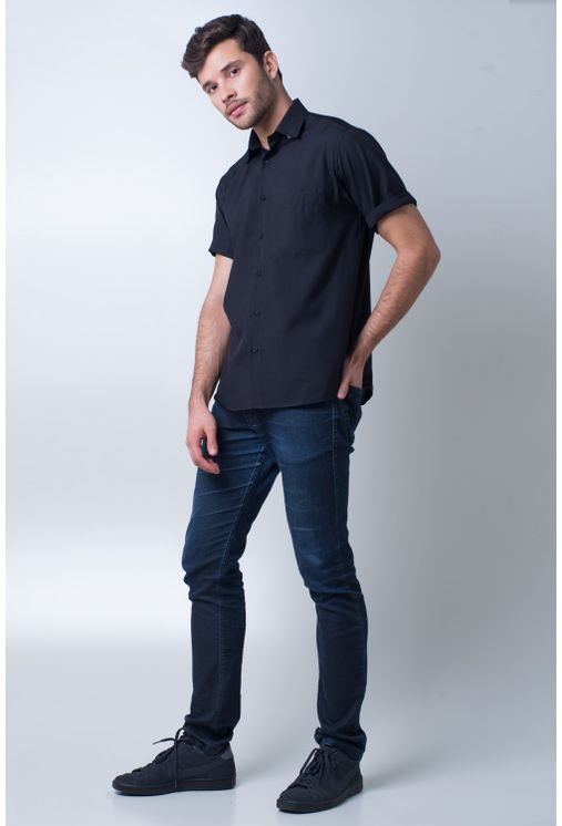 Camisa-casual-masculina-tradicional-microfibra-preto-f06208a-frente