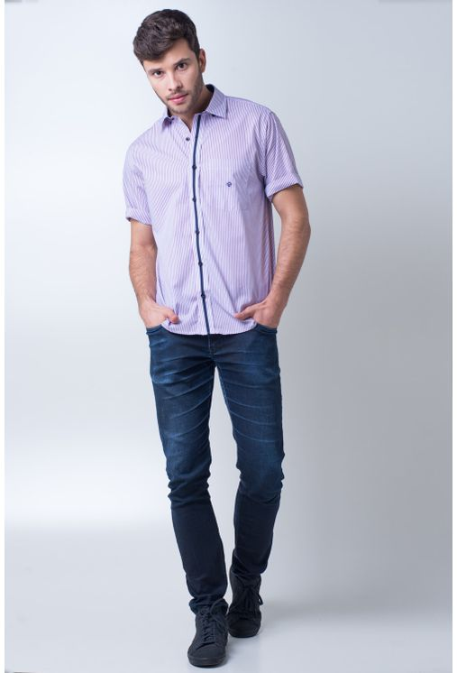 Camisa-casual-masculina-tradicional-algodao-fio-80-vermelho-f01279a-frente
