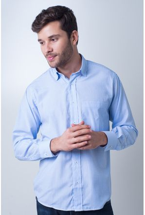 Camisa-casual-masculina-tradicional-algodao-azul-claro-f01755a-frente