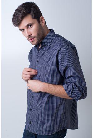 Camisa-casual-masculina-tradicional-algodao-fio-50-azul-escuro-f01353a-frente