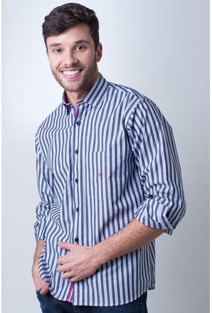 Camisa-casual-masculina-tradicional-algodao-fio-50-cinza-f01177a-frente