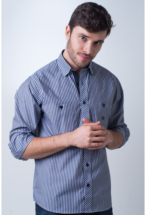 Camisa-casual-masculina-tradicional-algodao-fio-50-cinza-f01410a-frente