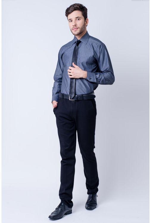 Camisa-casual-masculina-tradicional-algodao-fio-60-grafite-f03823a-frente