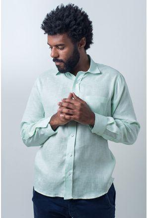 Camisa-casual-masculina-puro-linho-tradicional-verde-r03943a-frente
