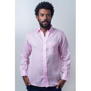 Camisa-casual-masculina-puro-linho-tradicional-rosa-r03943a-frente
