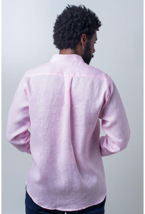 Camisa-casual-masculina-puro-linho-tradicional-rosa-r03943a-verso