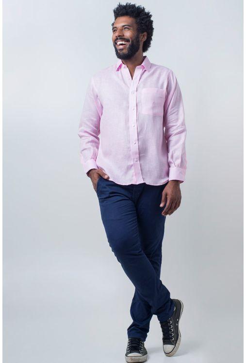 Camisa-casual-masculina-puro-linho-tradicional-rosa-r03943a-detalhe2