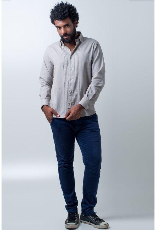 Camisa-casual-masculina-tradicional-linho-misto-bege-f01292a-frente