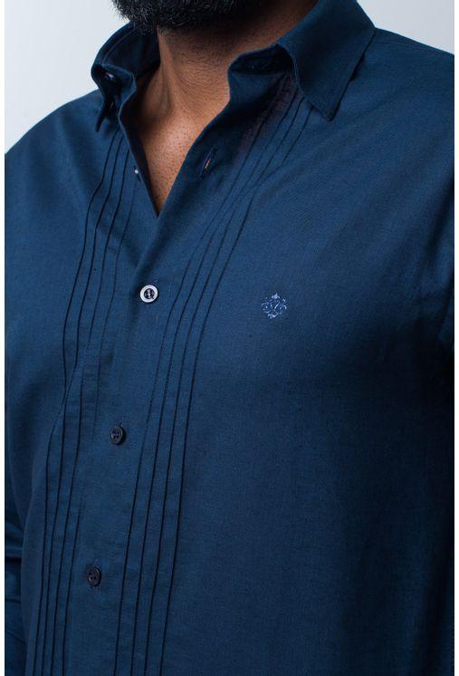 Camisa-casual-masculina-tradicional-linho-misto-azul-escuro-f01293a-frente