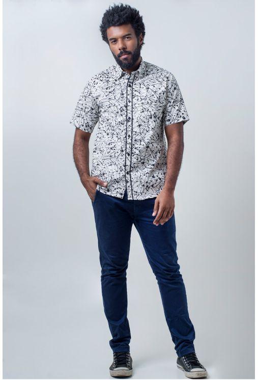 Camisa-casual-masculina-tradicional-algodao-fio-40-preto-f01605a-frente