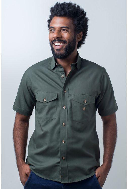 Camisa-casual-masculina-tradicional-sarjada-verde-f01681a-frente