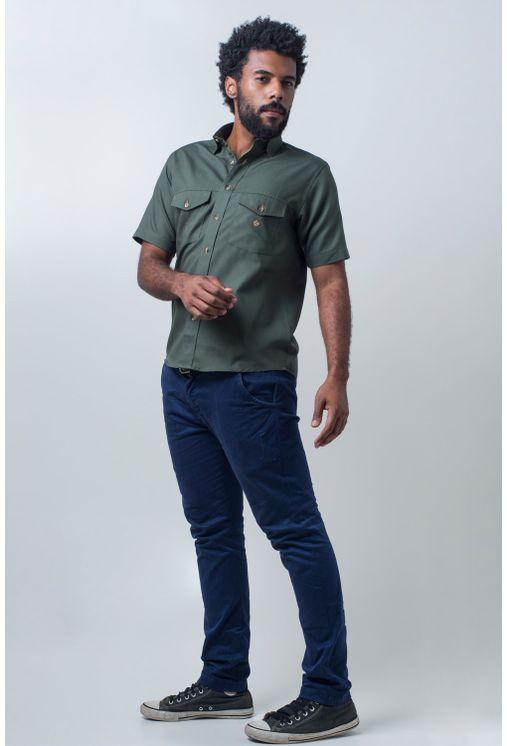 Camisa-casual-masculina-tradicional-sarjada-verde-f01681a-detalhe2