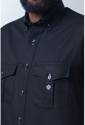 Camisa-casual-masculina-tradicional-sarjada-preto-f01700a-detalhe1