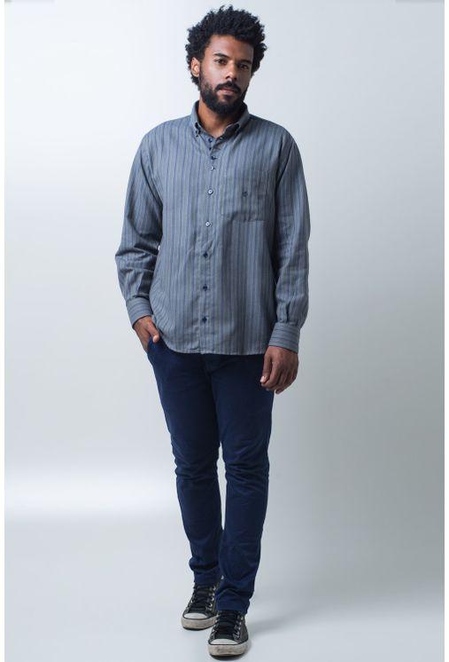 Camisa-casual-masculina-tradicional-flanela-cinza-f01100a-frente