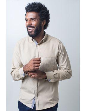 c005033f46 Camisa casual masculina tradicional veludo creme f01517a - Camisaria ...