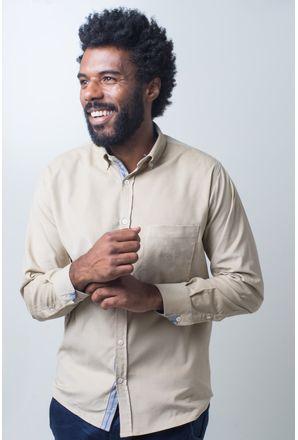 Camisa-casual-masculina-tradicional-veludo-creme-f01517a-frente