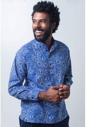 Camisa-bata-casual-masculina-tradicional-algodao-fio-50-azul-f01675a-frente