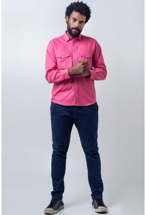Camisa-casual-masculina-tradicional-sarjada-pink-f01695a-frente