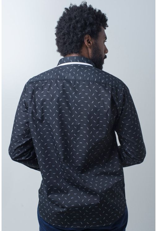Camisa-casual-masculina-tradicional-algodao-fio-60-preto-f01784a-frente