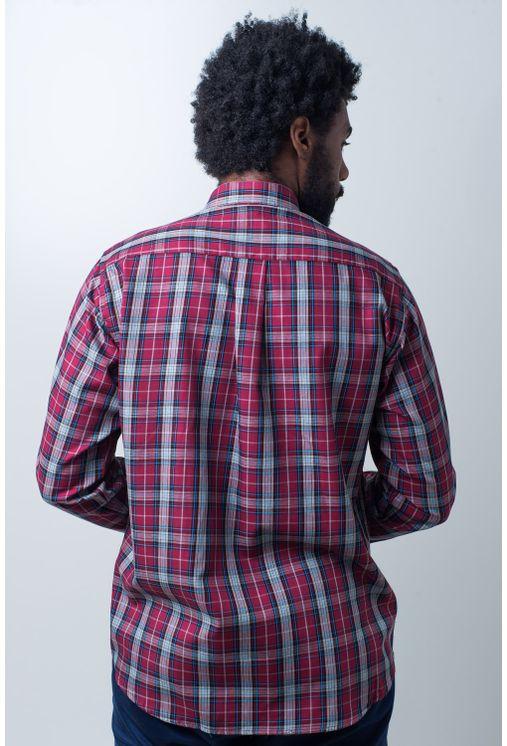 Camisa-casual-masculina-tradicional-algodao-fio-40-vermelho-f01830a-verso