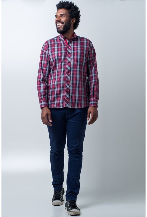 Camisa-casual-masculina-tradicional-algodao-fio-40-vermelho-f01830a-detalhe2