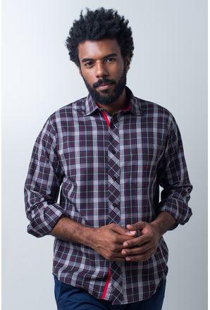 Camisa-casual-masculina-tradicional-algodao-fio-40-preto-f01830a-frente