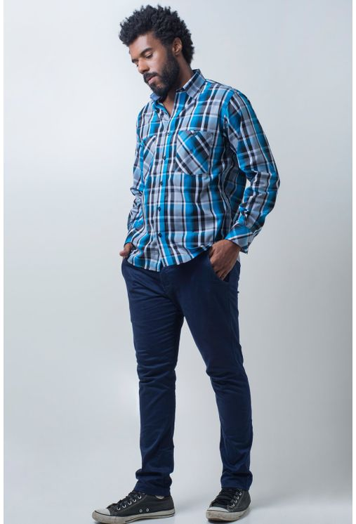 Camisa-casual-masculina-tradicional-algodao-fio-50-azul-medio-f01855a-frente