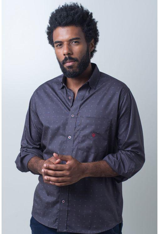 Camisa-casual-masculina-tradicional-algodao-fio-40-grafite-f01863a-frente