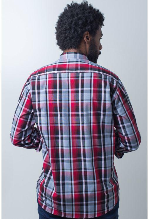 Camisa-casual-masculina-tradicional-algodao-fio-50-vermelho-e01855a-frente