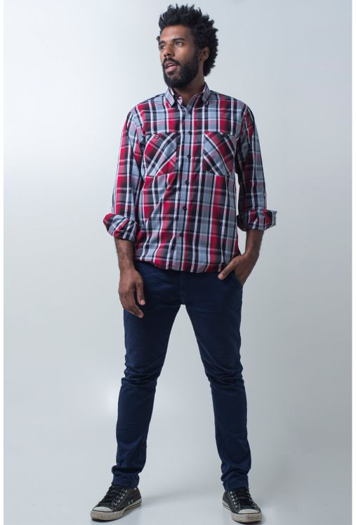 Camisa-casual-masculina-tradicional-algodao-fio-50-vermelho-e01855a-detalhe2
