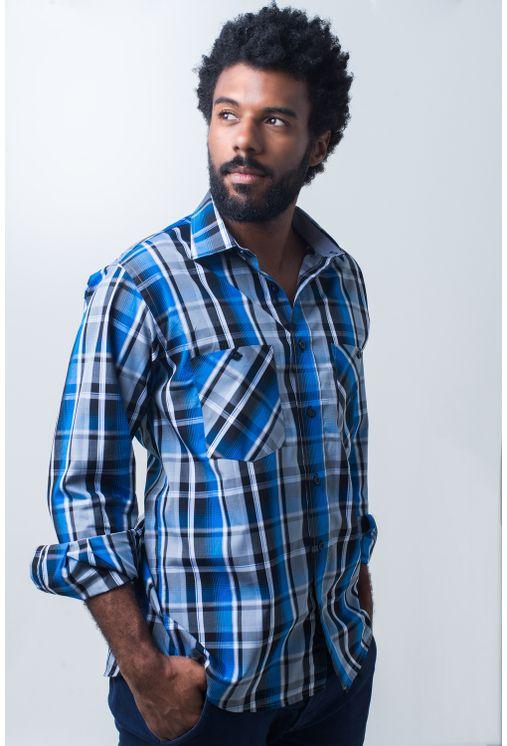 Camisa-casual-masculina-tradicional-algodao-fio-50-azul-e01855a-frente