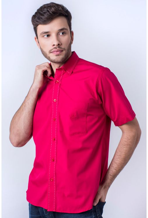 Camisa-casual-masculina-tradicional-algod-o-fio-60-vermelho-f01272a-frente